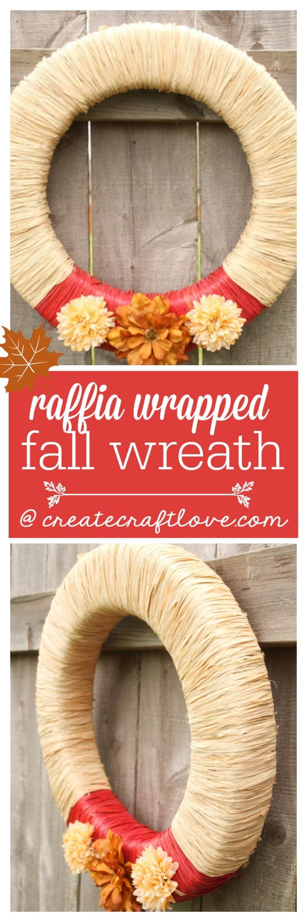This Raffia Wrapped Fall Wreath is perfect for autumn!