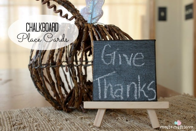 Accessorize your holiday table with these Easy Chalkboard Place Cards! via createcraftlove.com #tablescapes #placecards #holidays