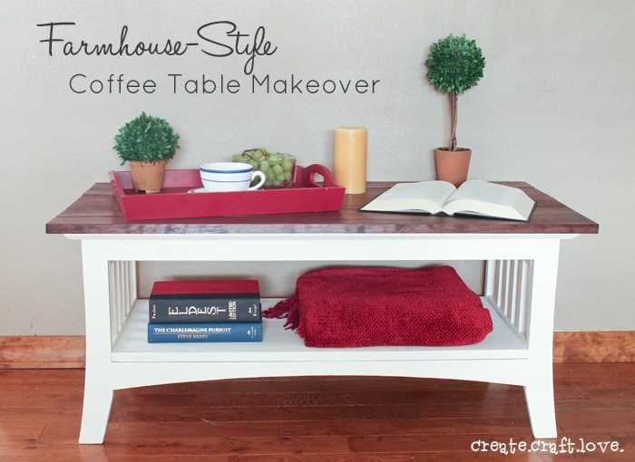 Come see how I transformed an old piece of laminate furniture into this beautiful Farmhouse Style Coffee Table! #furnituremakeover #ryobination #ad #spon