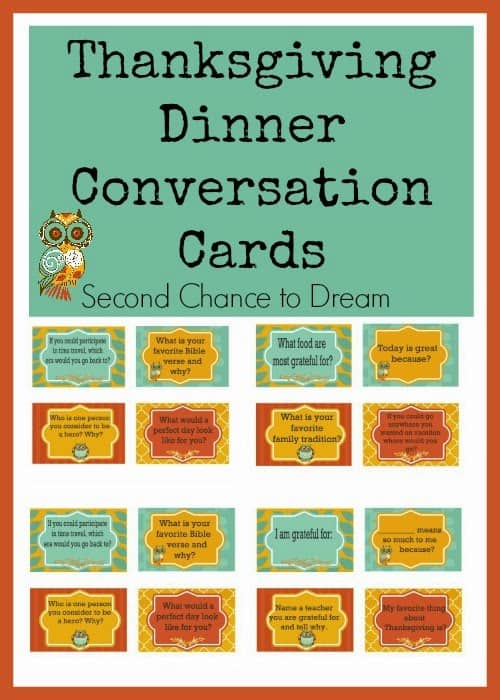 Thanksgiving Dinner Conversation Cards