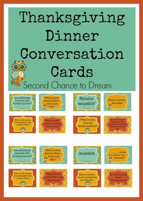 Thanksgiving Dinner Conversation Cards