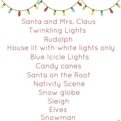 Christmas Light Scavenger Hunt Printable