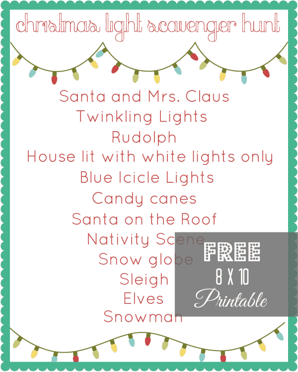 FREE Christmas Light Scavenger Hunt Printable via createcraftlove.com #printables #christmas #25daysofchristmas
