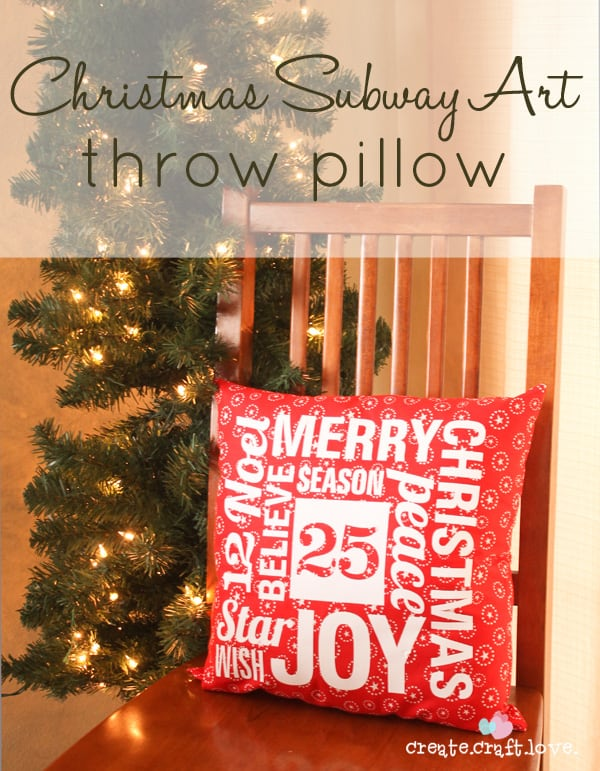 Christmas Subway Art Throw Pillow from createcraftlove.com #christmas #sewing #subwayart