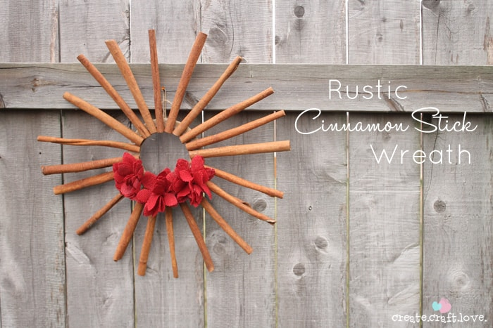 Rustic Cinnamon Stick Wreath - smells good and looks cute! via createcraftlove.com #cinnamon #wreaths #christmas