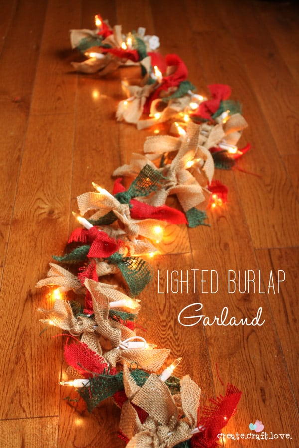 Lighted Burlap Garland for Christmas - Lighted Burlap Garland For Christmas {How To} - CreateCraftLove
