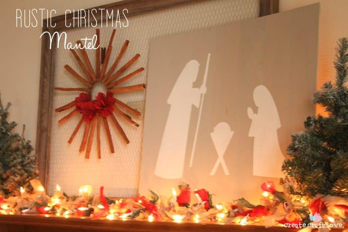 Rustic Christmas Mantel with four tutorials! via createcraftlove.com #christmas #mantel #25daysofchristmas