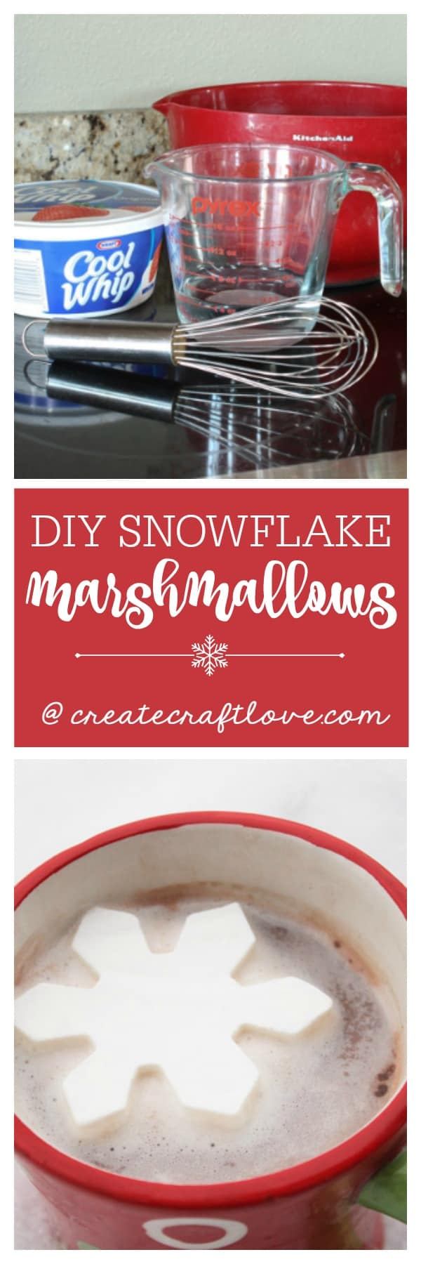 Whip up these DIY Snowflake Marshmallows as a fun little treat on a cold day!