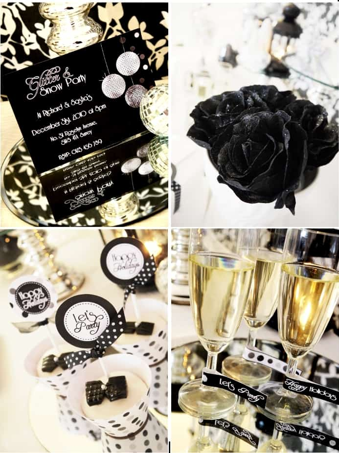 glitter and snow ball party glam holiday collection glitzy chic sophisticated new year party