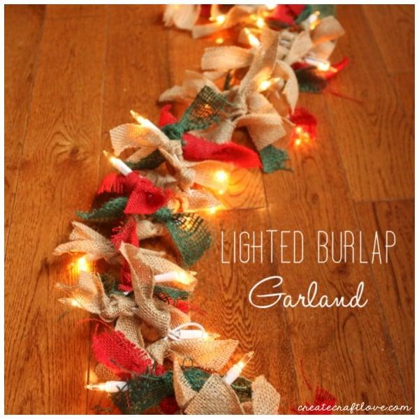 Lighted Burlap Christmas Decorations