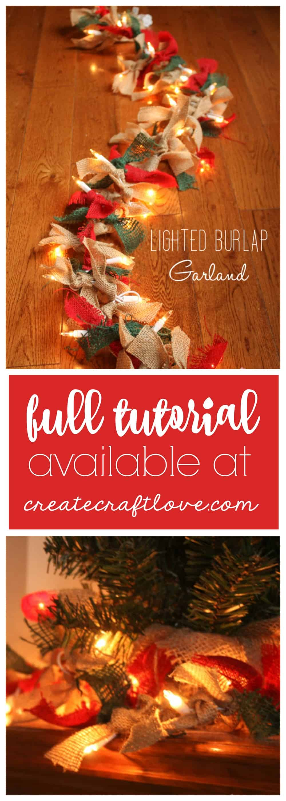 This Lighted Burlap Garland adds a rustic element to holiday decor!