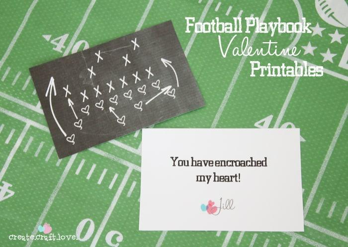Football Valentine Printable FREE at createcraftlove.com #valentines #printables #footballvalentines