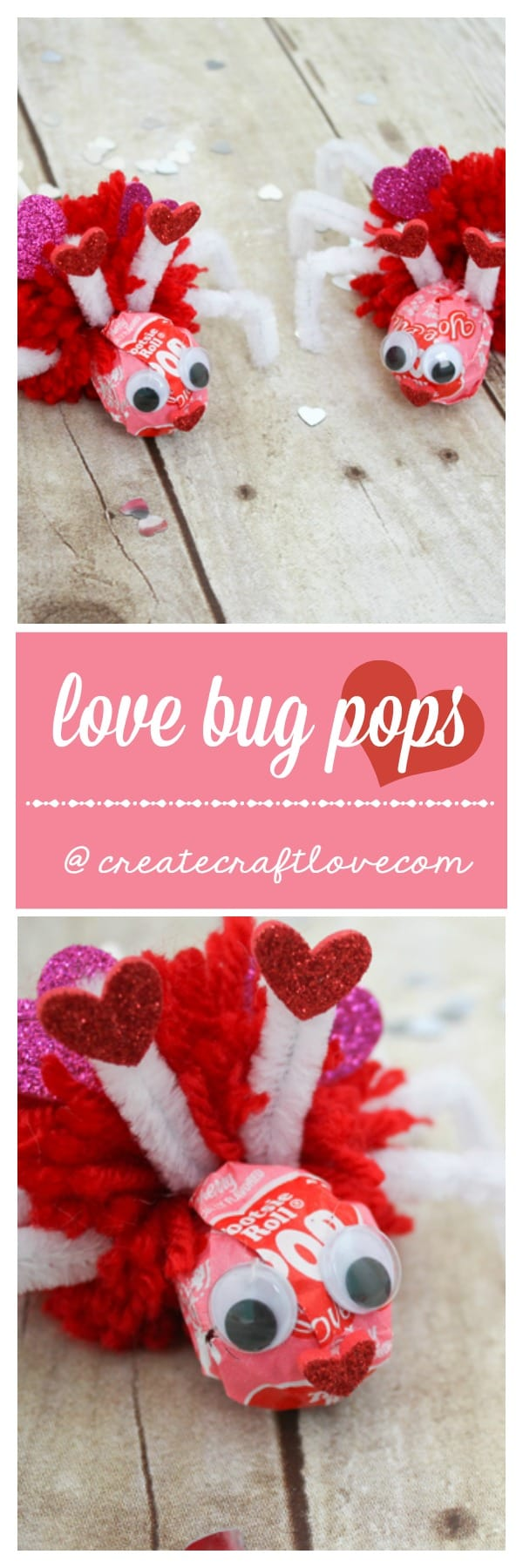 These Love Bug Pops are a great classroom treat for Valentine's Day!