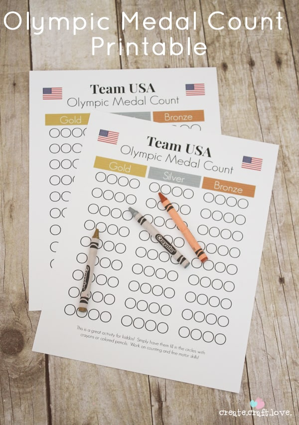 Olympic Medal Count Printable via createcraftlove.com #olympics #printables