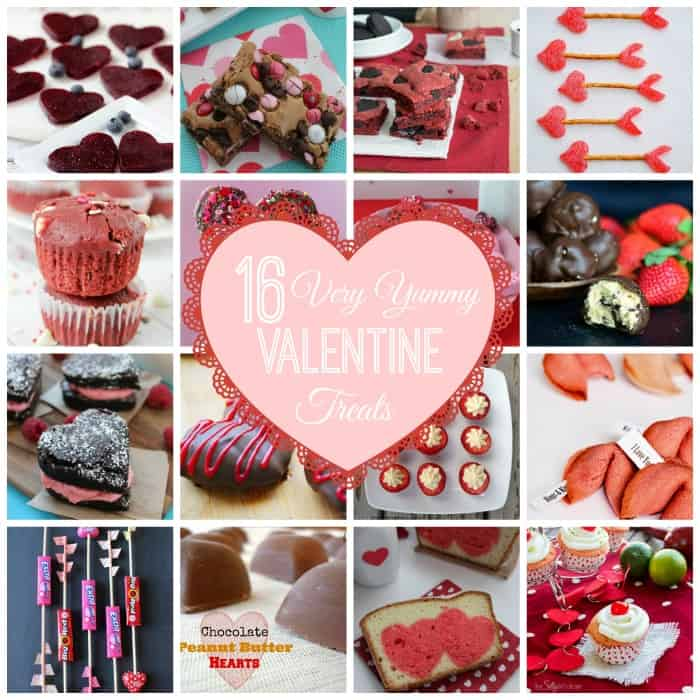 16 Very Yummy Valentine Treats via www.waittilyourfathergetshome.com #features #linkparty #recipes #desserts #valentinesday