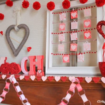 Red, White & Pink Valentine Mantel