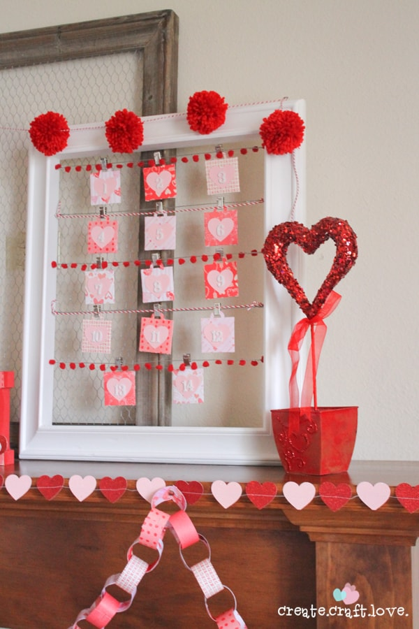 Red, white and pink Valentine Mantel via createcraftlove.com #valentinesday #mantel