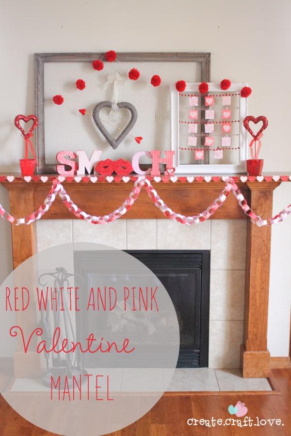 Red, white and pink Valentine Mantel via createcraftlove.com #valentinesday #mantel