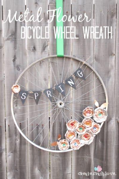 Metal Flower Bicycle Wheel Wreath