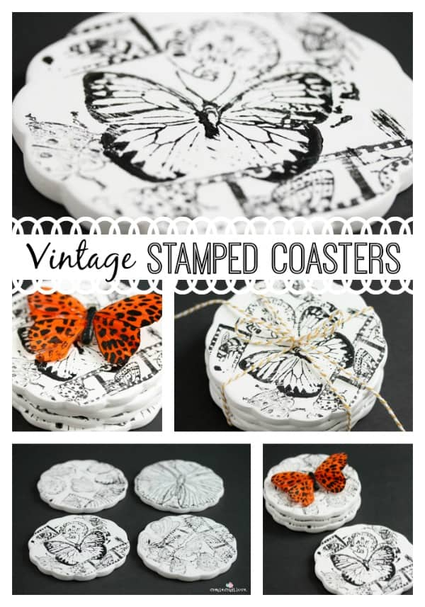 Join me at the Branson Hills Michaels location on Feb 16th from 1-4pm to make these Vintage Stamped Coasters! #ad #MPinterestParty #homedecor