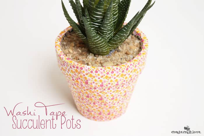 These Washi Tape Succulent Pots are so trendy for spring!  #washitape #succulents #homedecor #spring