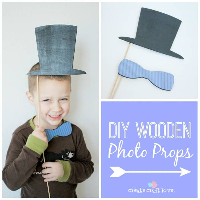 Create your own lasting memories with these DIY Wooden Photo Props!  via createcraftlove.com #wooden #DIY #photoprops #paint #glitter #modpodge