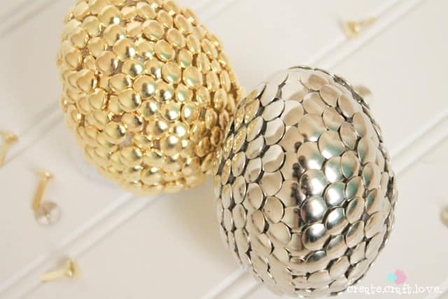 silver and gold easter eggs beauty upclose