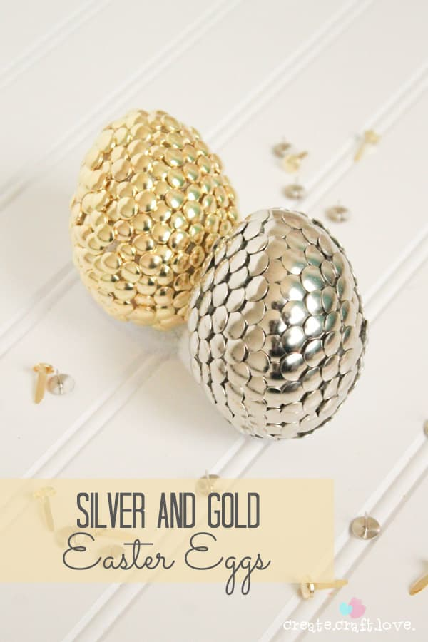 Silver and Gold Easter Eggs from thumbtacks and fasteners!  via createcraftlove.com for The 36th Avenue #easter #eastereggs #gold #silver