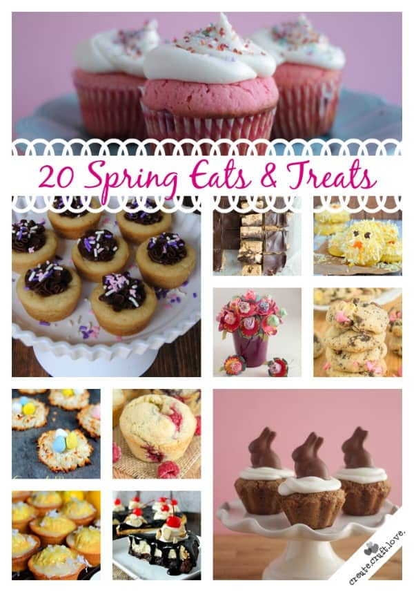 20 Spring Eats and Treats to increase your recipe arsenal (and waistline)! via createcraftlove.com #spring #recipes #desserts