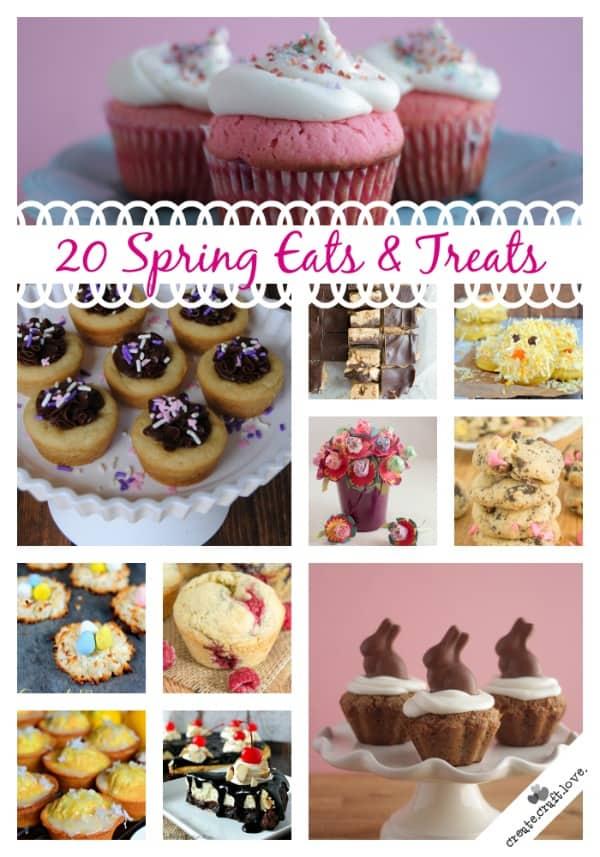 20 Spring Eats and Treats to increase your recipe arsenal (and waistline)! via createcraftlove.com #spring #recipes #desserts