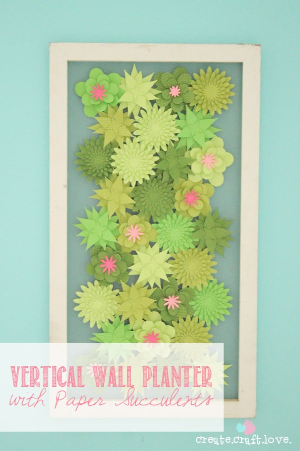 Create this fabulous faux Vertical Wall Planter with Paper Succulents from the Core'dinations paper line at Darice.com!#spon #paper #papercrafts #darice #coredinations