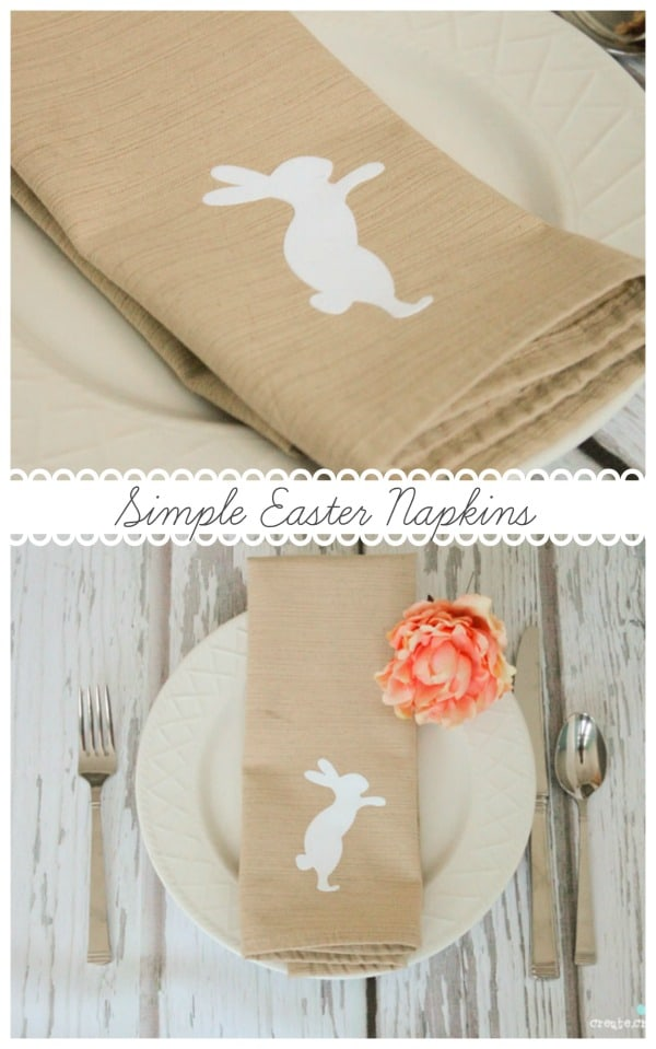 Create these Simple Easter Napkins for your Easter brunch tablescape! #easter #tablescapes #explorecricut #irononvinyl