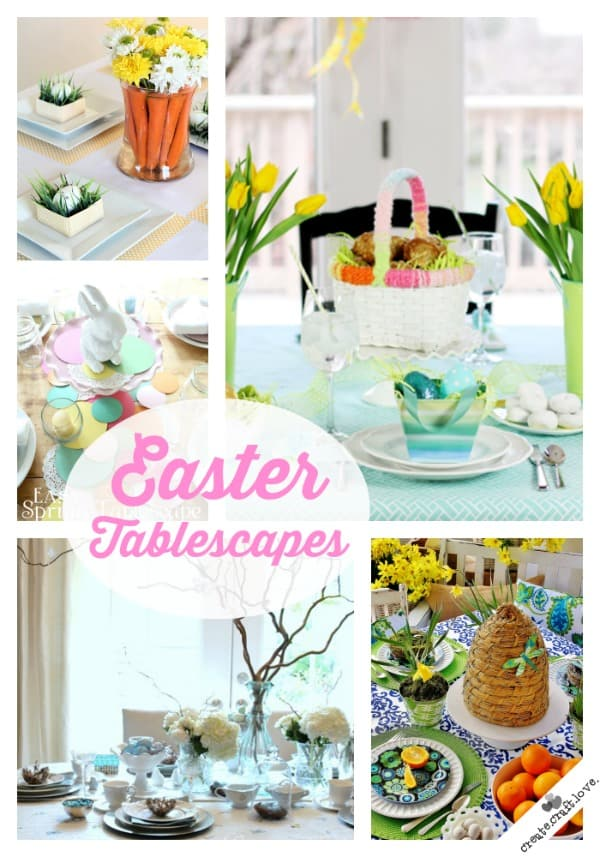 I love the bright and colorful decorations used for these Easter Tablescapes! via createcraftlove.com #easter #tablescapes