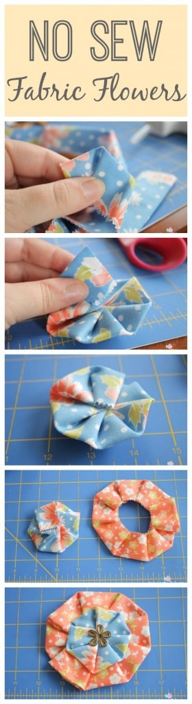 Learn to create these No Sew Fabric Flowers I used on my Vintage Scrap Wreath with these simple steps! via createcraftlove.com #nosew #fabricflowers #fabric #wreath #summer