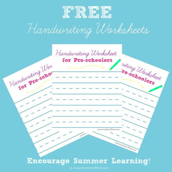 Encourage summer learning with these FREE Handwriting Worksheets for Pre-schoolers!  Available at createcraftlove.com!