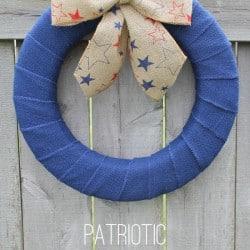 Create this simple and stunning Patriotic Burlap Wreath at createcraftlove.com!