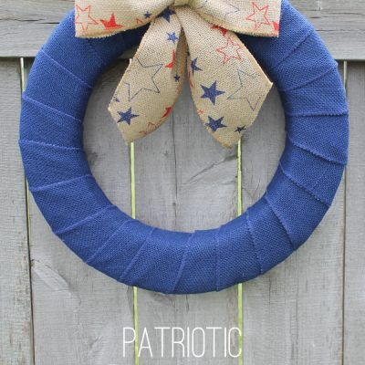 Create this simple and stunning Patriotic Burlap Wreath at createcraftlove.com!