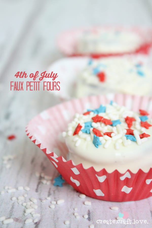 These Faux Petit Fours are filled with delicious goodness! You only need three ingredients! via createcraftlove.com