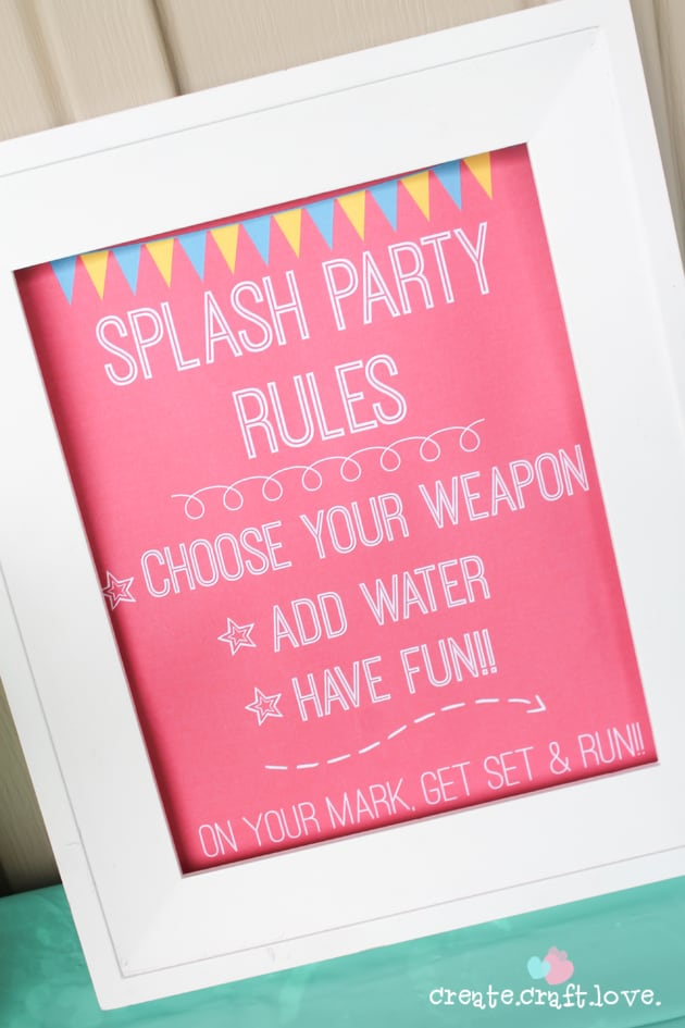 Download your own Splash Party Rules Printable for FREE at createcraftlove.com!