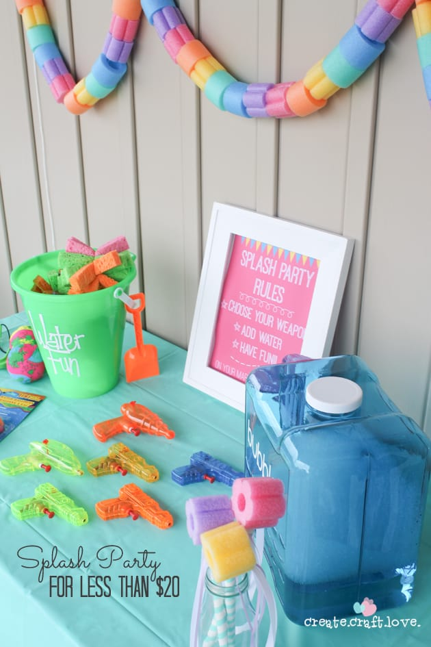 Create your own Splash Party for less than $20 with createcraftlove.com