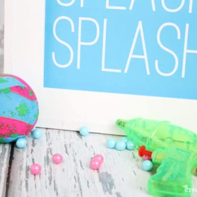 These Pool Party Printables are available in 4 bright colors and can be used for anything from decor to invitations! via createcraftlove.com