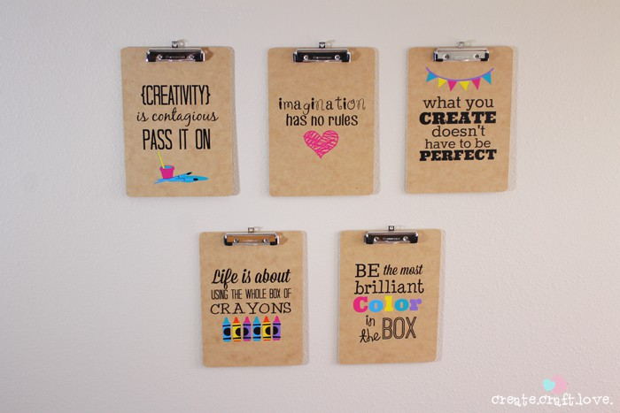 Clipboard Kids Art Display that look great with or without artwork hanging on it! via createcraftlove.com