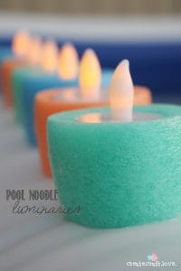 Create these Pool Noodle Luminaries for your next pool party!  via createcraftlove.com