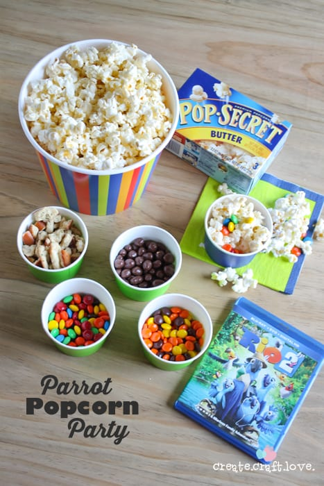 Throw together this Parrot Popcorn Party to celebrate the release of Rio 2! via createcraftlove.com #ad #PopforRio2 #pmedia