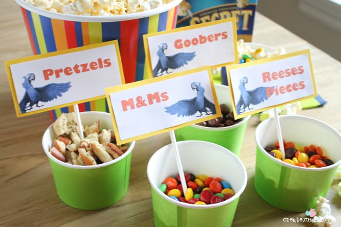 Throw together this Parrot Popcorn Party to celebrate the release of Rio 2! via createcraftlove.com