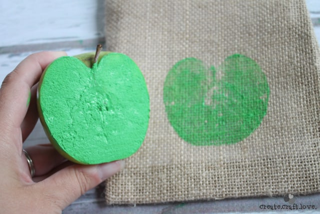 apple stamped gift bags stenciled