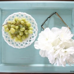 Create your own Distressed Serving Tray from an old cabinet door! #spon #anniesloanunfolded #DIY #repurpose