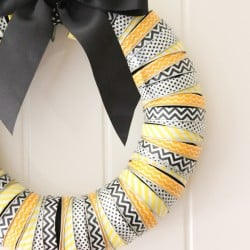 Canning Lid & Washi Tape Halloween Wreath - tutorial @createcraftlove.com