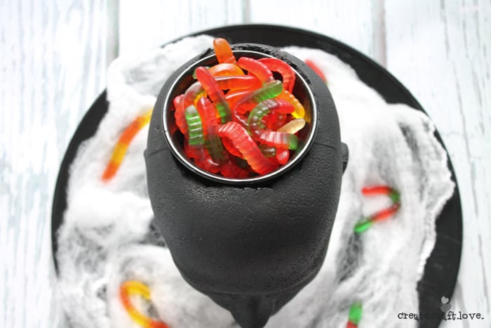 Create your own Foam Head Halloween Candy Bowl via createcraftlove.com!