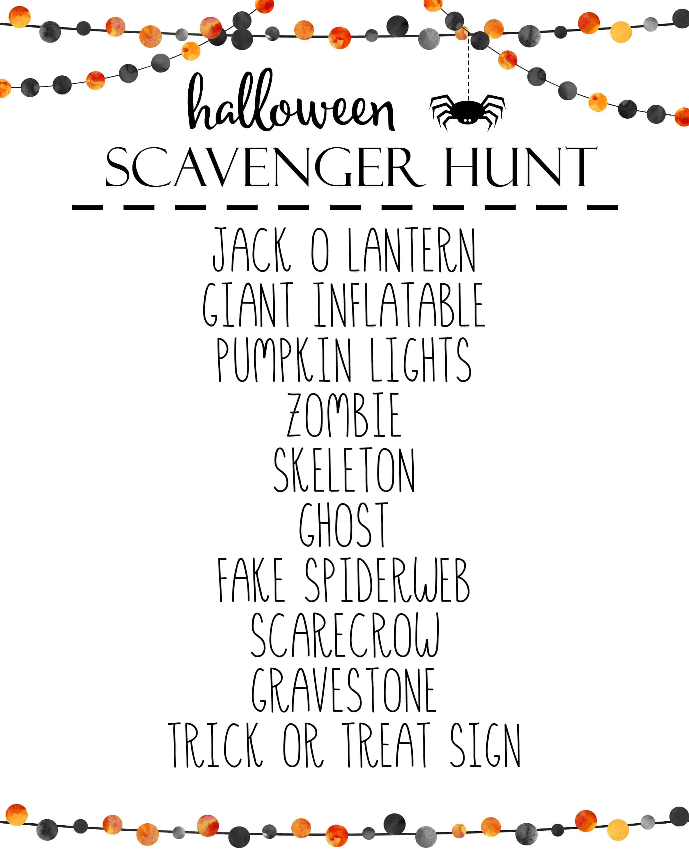 halloween scavenger hunt - guide to halloween printables